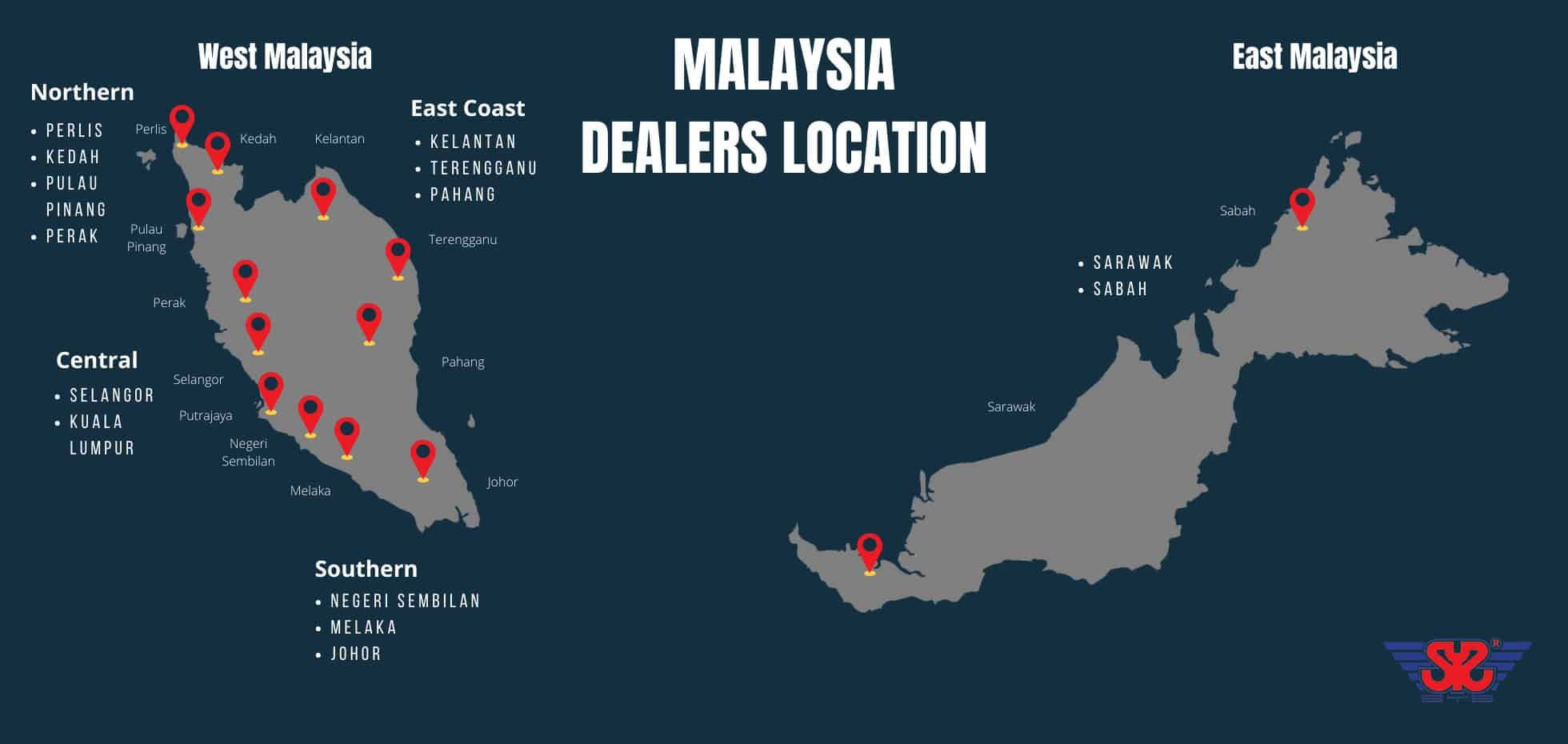 Malaysia dealers location map for syscast